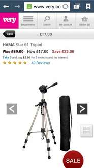 Hama Star 61 camera tripod stand with bag £17 plus delivery £3.95 or free click&collect @ Very