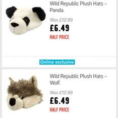 Wild Republic Hats - Wolf and Panda reduced half price from £12.99 @ Argos