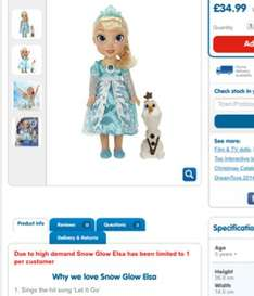 Snow Glow Elsa IN STOCK £34.99  The Entertainer