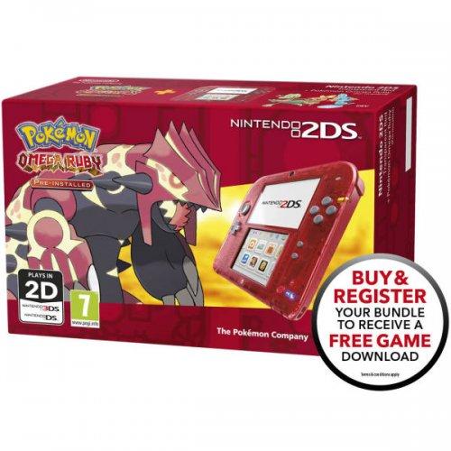 Nintendo 2DS Transparent Red + Pokémon Omega Ruby + free download game £109.99 delivered at Zavvi