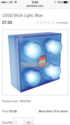 Blue Lego brick light £7.33 @ John Lewis