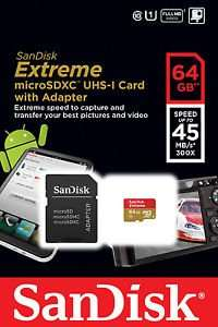 SANDISK 64GB EXTREME CLASS 10 45MB/S MICRO SD XC MEMORY CARD RETAIL PACK - £25.99 @ eBay/LJ'sWall Art