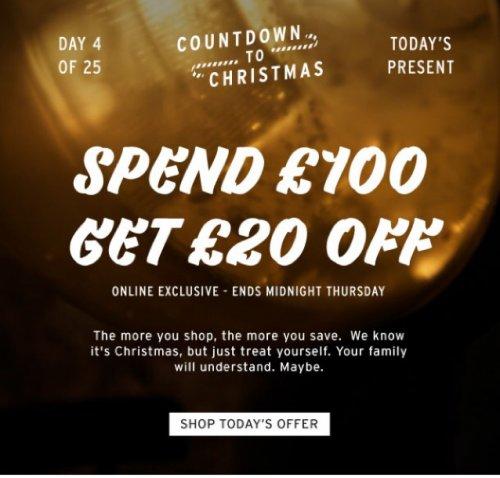 TOPMAN spend £100 get £20 Off