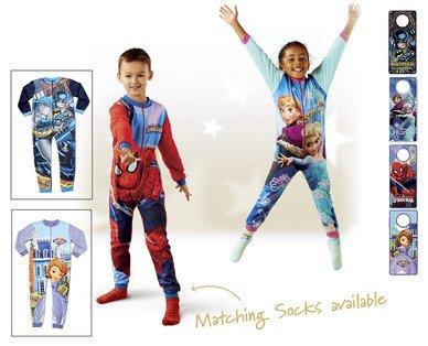 Frozen,Spiderman,Batman,sofia Onesie £6.99 / Pyjamas£4.99 /  Dressing Gown £6.99/(3pack) socks £2.49 @ aldi from 11th Dec