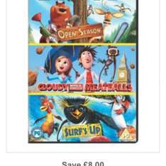CLOUDY WITH A CHANCE OF MEATBALLS / OPEN SEASON / SURFS UP DVD 6.98 delivered @ The Hut