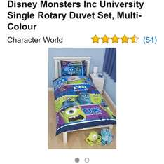 Monster university duvet cover £6.75 Sold by Surplus Trade Supplies and Fulfilled by Amazon.  (free delivery £10 spend/prime)