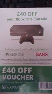 £40 off voucher on Xbox one bundles - £349 now £309 at selected shopping centres