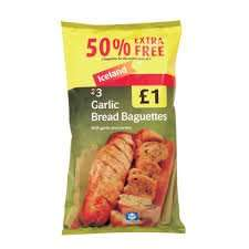 3 garlic baguettes 89p @ iceland instore and online
