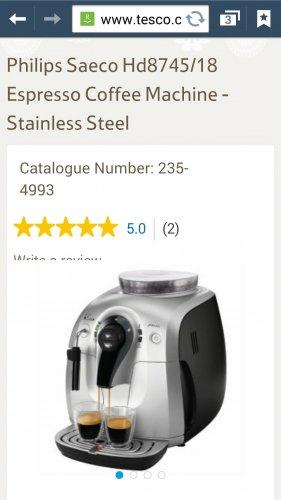 Philips saeco hd8745/18 coffee machine £149 @ Tesco Instore