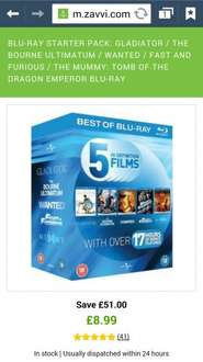 5 BLU RAY MOVIES GLADIATOR / THE BOURNE ULTIMATUM / WANTED / FAST AND FURIOUS / THE MUMMY: TOMB OF THE DRAGON EMPEROR £8.99 @ Zavvi.com