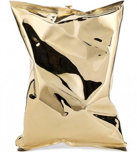 Crisp packet 18ct yellow-gold clutch bag! £60000 @ Selfridges