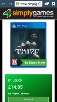 Thief PS4 @ SimplyGames £14.85 free delivery
