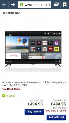 LG 42UB820V 42inch 4k smart tv PRCdirect.co.uk £494.95