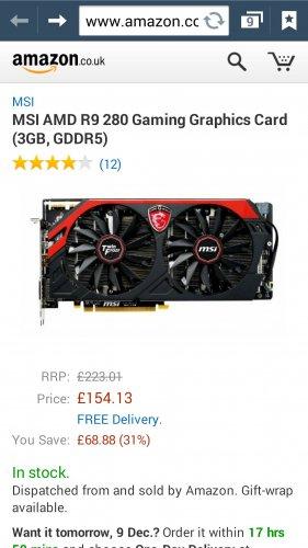 MSI AMD R9 280 Gaming Graphics Card (3GB, GDDR5) £154.13 @ Amazon