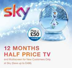 12 Months Half Price TV and Multiscreen Plus a £50 Reward for New Customers Only at Sky (Save up to £486)