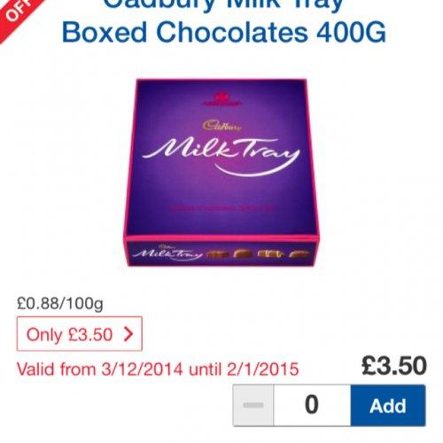 Cadbury Milk Tray Boxed Chocolates 400G £3.50 @ Tesco