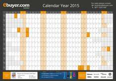 Calendar Year A1 2015 Wall Planner @ ebuyer only 2p plus £2.98 P&P