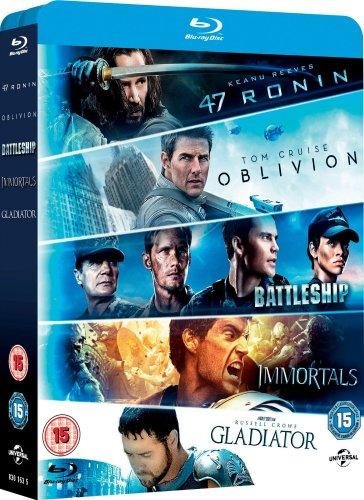 5 Blu Ray Bundle - 47 Ronin Oblivion Immortals Battleship Gladiator £15 @ Amazon