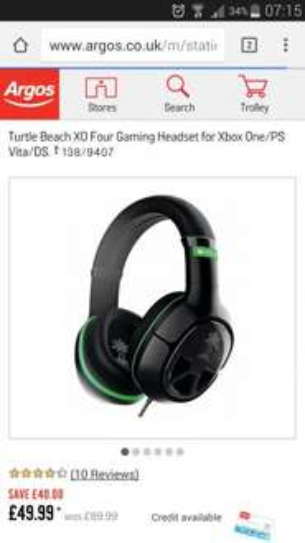 Turtle beach XO Four Gaming Headset for Xbox One/PS Vita/DS £49.99 Argos