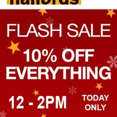 HALFORDS Flash Sale 10% off everything today only 12-2pm