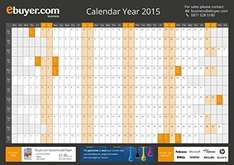 Ebuyer.com Calendar Year A1 2015 Wall Planner 50p incl delivery @ Amazon