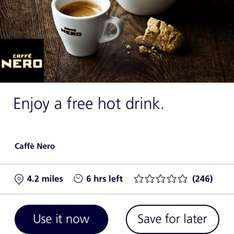 Free hot drink @ cafe Nero via O2 priority moments app