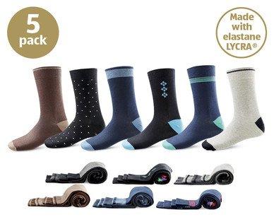 Men's Cotton Blend Socks 5 Pack £3.99 @ Aldi
