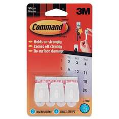 Command Micro Hooks with Command Adhesive Strips (1 Pack of 3 Hooks) WAS £23.90 NOW £2.18 You Save: £21.72 (91%) @ Amazon