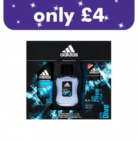 £4 for 50ml Addidas edt, 205ml shower gel & 150ml deodrant £4 @ onestop shop