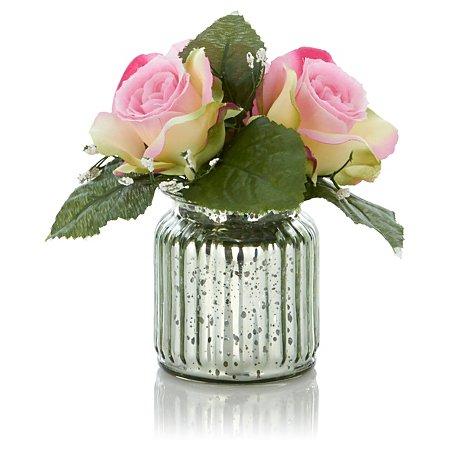 George Asda metallic vase and roses £3