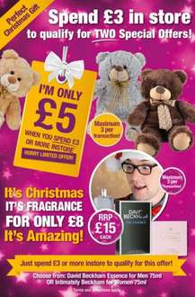 From Wednesday 10th December, spend £3 or more in store and you can take advantage of these Amazing special offers… Buy a bear for £5 and/or a Beckham fragrance for £8!  @ Poundland