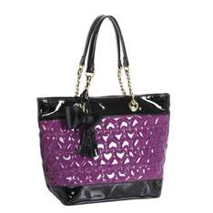 PVC Patent Heart Quilted Tote Handbag. Enter code 'Extra20' £20. Was£95 Free delivery @ bags etc