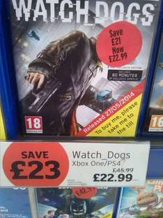 Watchdogs ps4/xbox one £22.99 @ Sainsbury's