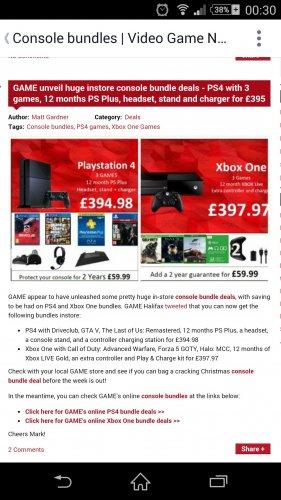 PS4/Xbox1 bundles £395 instore @ Game