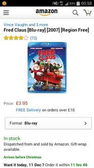 Fred claus blu ray @ amazon £3.95  free delivery with prime