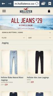 All Hollister Jeans £29.99  at Hollister