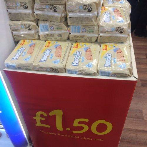 Huggies Baby Wipes, £1.50 for 2 packs (75p each) at Asda