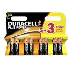 Duracell Plus Power AA Batteries - 5 + 3 Free for £2.99 @ Ebuyer