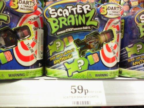 Scatter Brainz 3 darts and target 59p stocking filler @ Home Bargains