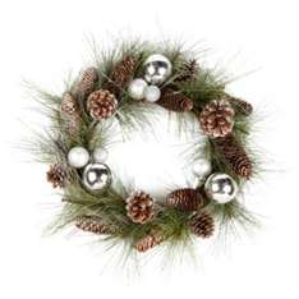 "Bauble & Pine Cone Wreath 20"" - Now £13 @ B&Q"