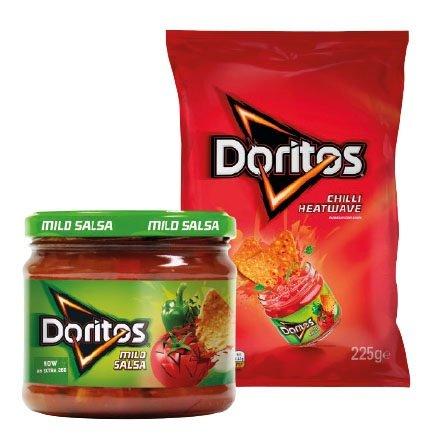 225g Doritos, Doritos Dips, Matchmakers all at £1 each in Budgens