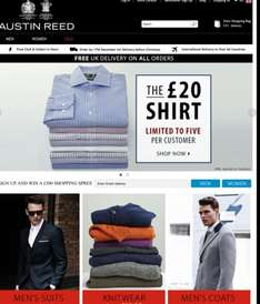 Austin Reed £20 shirt offer max 5 per person