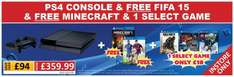 PS4 with FIFA 15, minecraft and choice of COD, Lego Batman 3 or The Crew £347.99 at Smyths Toys
