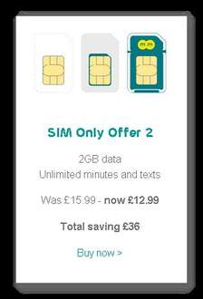EE Combi Sim Only Deal - Unlimited Minutes | Unlimited Texts | 2GB 4G Data - Was: £15.99 > Now: