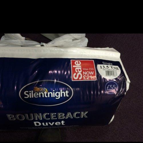 SilentNight 13.5 Tog single duvet £21.99 was £55 in store BHS Nottingham