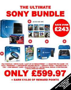 Playstation 4 Console With Driveclub & The Last Of Us: Remastered And One Chosen Game, A PS Vita With 5 Games and 8gb Memory Card, Playstation TV And An Extra Dualshock 4 Controller £599.97 @ Game (Best Bit! £10 Reward Points)