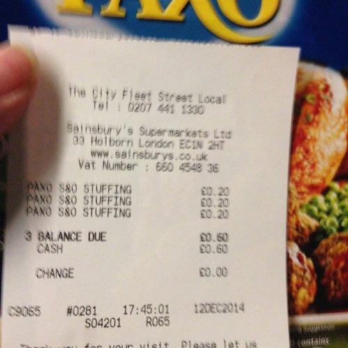 Paxo sage & onion stuffing 20p at Sainsburys local (Fleet Street)
