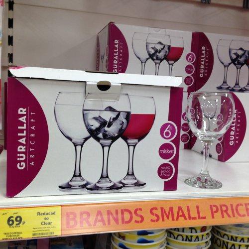 Set of 6 boxed wine glasses bargain 69p @ Tesco instore