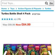 Tmnt battle shell 30 cm figure 4 pack smyths - £64.99