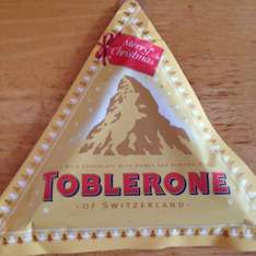 Toblerone Christmas triangle now 49p each in home bargains